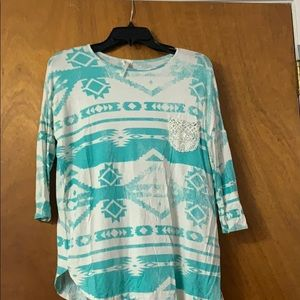 Tribal print, turquoise and white top